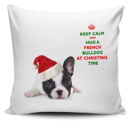 Christmas Keep Calm And Hug A French Bulldog Novelty Cushion Cover